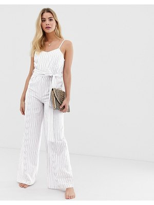 America & Beyond blue bell luxe striped beach jumpsuit-white