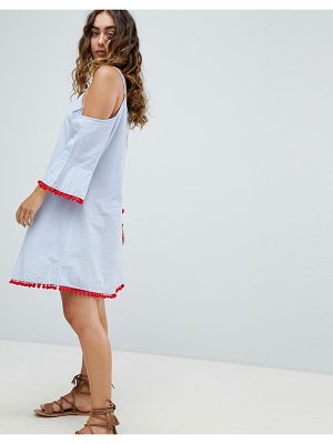 America & Beyond Chambray Cold Shoulder Beach Dress With Fluted Sleeve