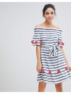 America & Beyond Off Shoulder Stripe Beach Dress With Red Pom Pom Detailing