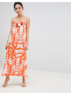 America & Beyond Orange Tie Dye Maxi Beach Dress With Pom Pom Details