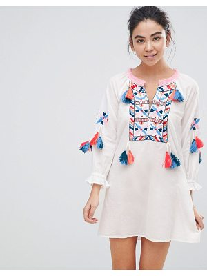 America & Beyond White Beach Tunic Dress With Heavy Embroidery