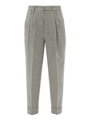 Ami high-rise checked wool-blend trousers