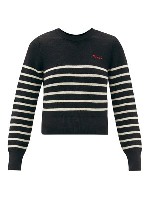 Ami logo-embroidered striped wool sweater