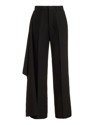 Ami drape-detailed cropped wide-leg trousers