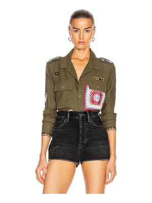 Amiri crotchet patch military top