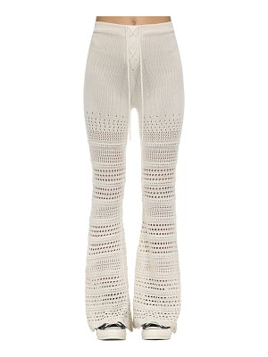 Amiri Flared intarsia knit crochet pants