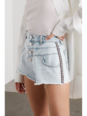 Amiri jacquard-trimmed denim shorts