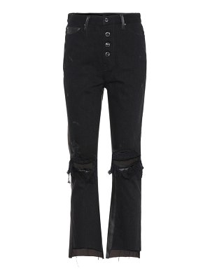 Amiri Leather and denim crop flare jeans