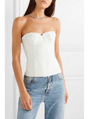 Amiri paneled leather and lace bustier top