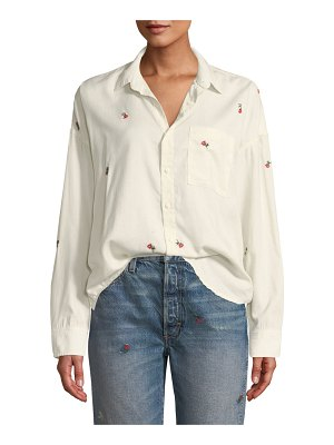AMO Denim Embroidered Boxy Button-Down Shirt