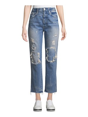 AMO Denim Loverboy Patched High-Rise Straight-Leg Jeans