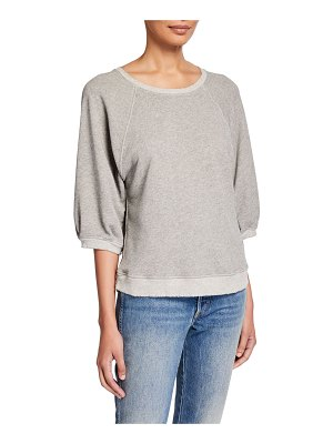 AMO Denim Puff-Sleeve Sweatshirt