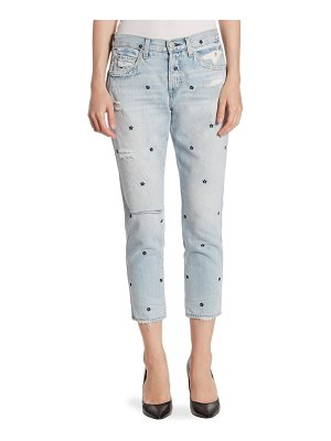 AMO Tomboy Cropped Floral-Embroidered Jeans
