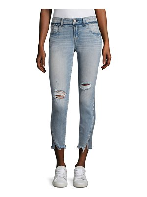 AMO Twist Two-Tone Distressed Cropped Skinny Jeans
