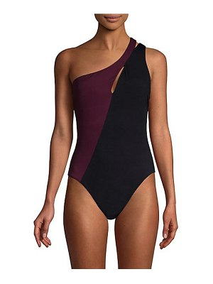 Amoressa phantom leroux two-tone one shoulder one-piece swimsuit