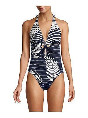 Amoressa venetian affair palm leaf stripe halter one-piece swimsuit