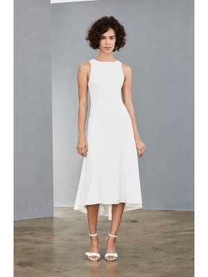 Amsale mesh back crepe tea length dress