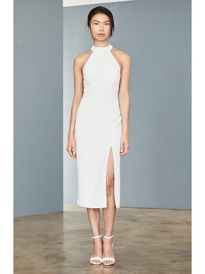 Amsale sheer back faille sheath dress