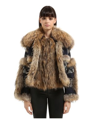 AMUCK Fur & tapestry fabric patchwork jacket