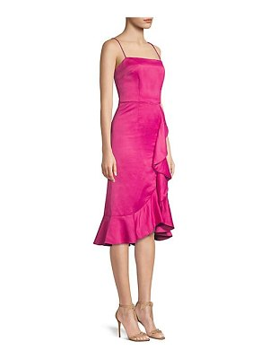 AMUR ashley satin cascading ruffle dress