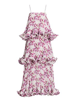 AMUR dewy floral tiered ruffle gown