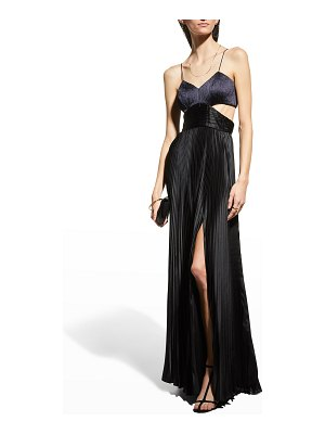 AMUR Elodie Pleated Long Cutout Gown