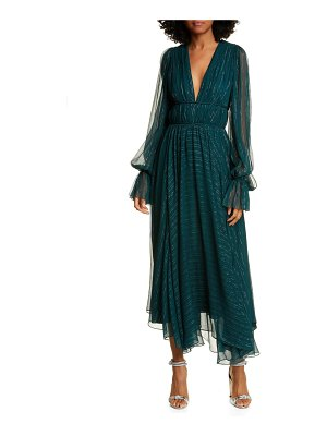 AMUR heidi metallic stripe long sleeve silk blend dress