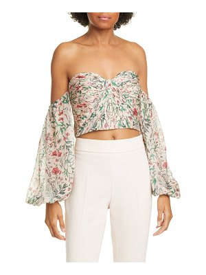 AMUR helena floral off the shoulder silk crop top