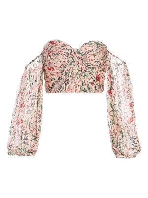 AMUR helena off-the-shoulder puff-sleeve silk top