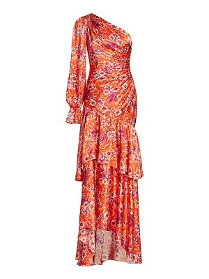 AMUR isabella off-shoulder fitted silk gown