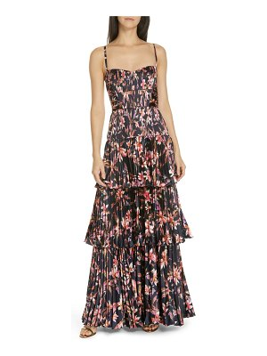 AMUR londyn pleated tiered maxi dress