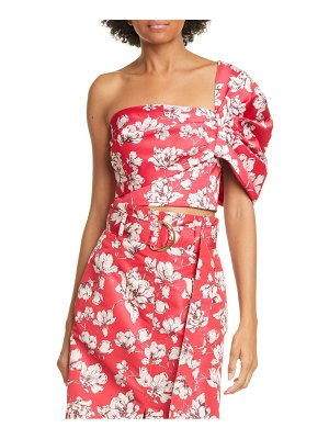 AMUR lucia floral one-shoulder crop top