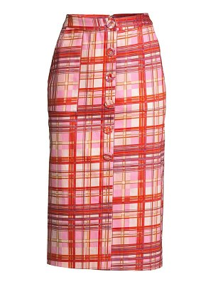 AMUR shawn plaid midi skirt