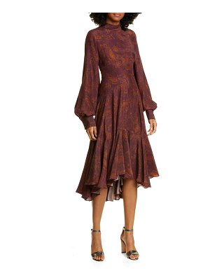 AMUR wilder paisley long sleeve silk dress