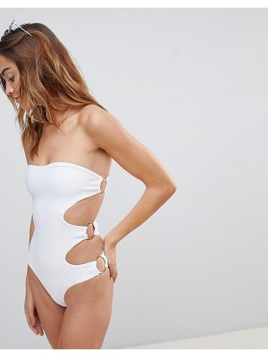 Amy Lynn Bandage Bandeau Cut Out Swimsuit With Hardware