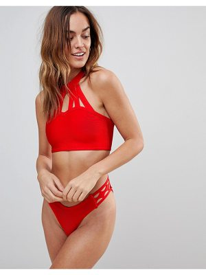 Amy Lynn Bandage Cut Out Choker Neck Beach Top