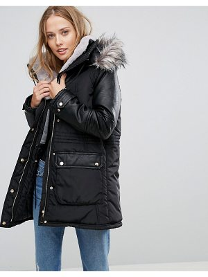 Amy Lynn Parka With Faux Fur Hood & Pocket Detail