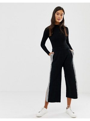 Amy Lynn wide leg cropped pants with lace panel