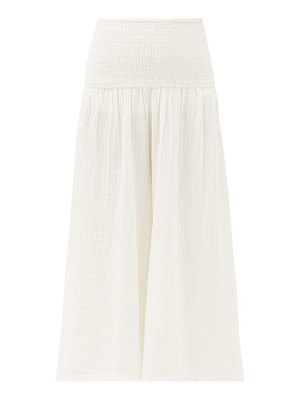 Anaak anneka smocked cropped cotton trousers