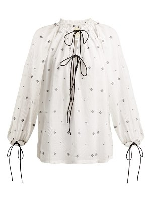 Anaak fay diamond-jacquard cotton blouse