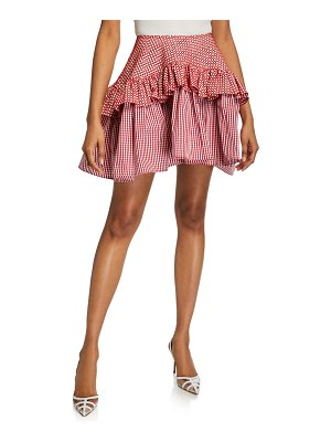 Anais Jourden Embroidered Faux-Leather Gingham Ruffle Skirt
