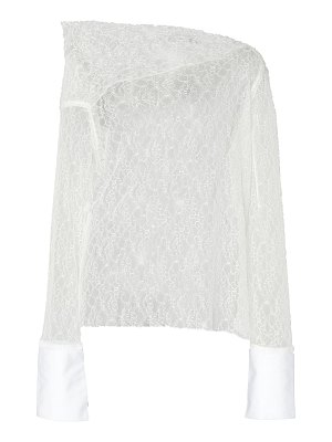 Anaïs Jourden off-the-shoulder white poplin and lace blouse