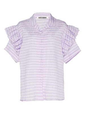 Anaïs Jourden ruffled striped lace and poplin top