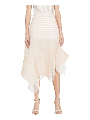 Anais Jourden sheer striped lace skirt with side ruffles
