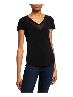 Anatomie Charlotte V-Neck Short-Sleeve Jersey Top with Mesh Details