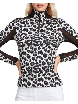 Anatomie Sivan Leopard Print Top with Mesh Inserts