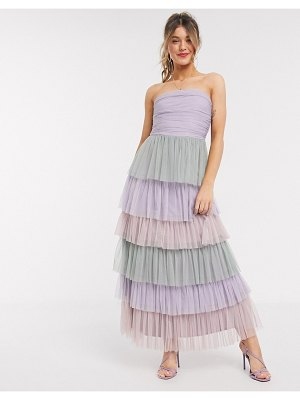 Anaya with love bandeau contrast ruffle tiered midaxi prom dress in multi print