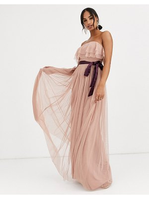 Anaya with love bandeau maxi tulle dress with contrast waistband in burgundy-red