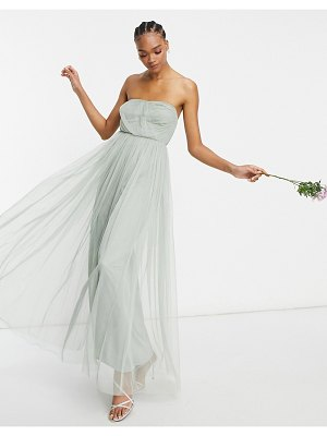 Anaya with love bridesmaid tulle bandeau maxi dress in navy-green