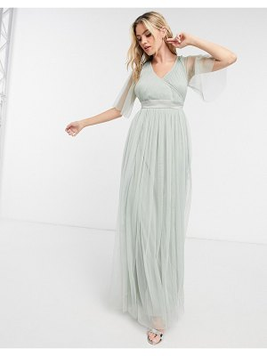 Anaya with love bridesmaid tulle flutter sleeve maxi dress in sage-green